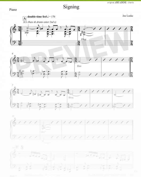 Joe Locke - Signing sheet music